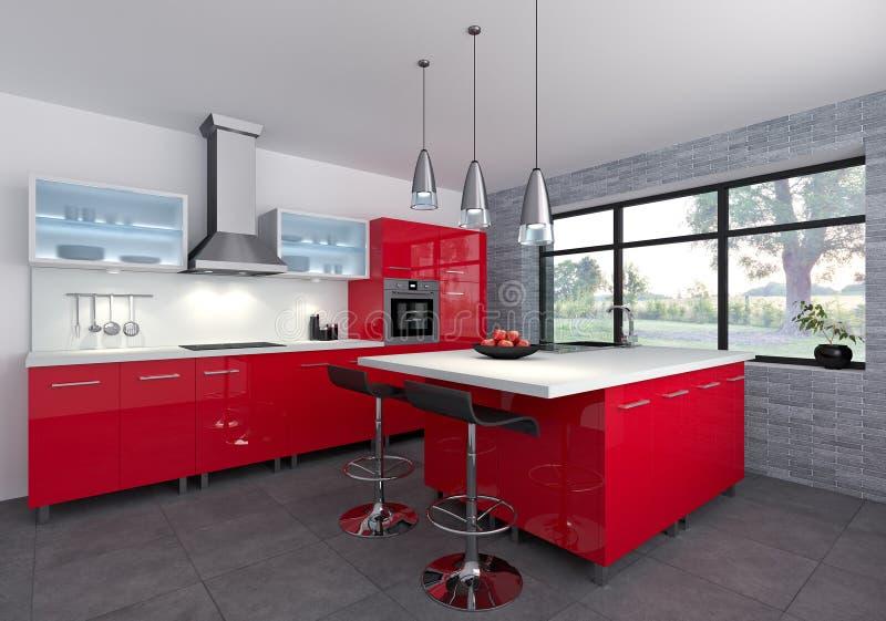 Czerwona kuchnia ilustracja wektor