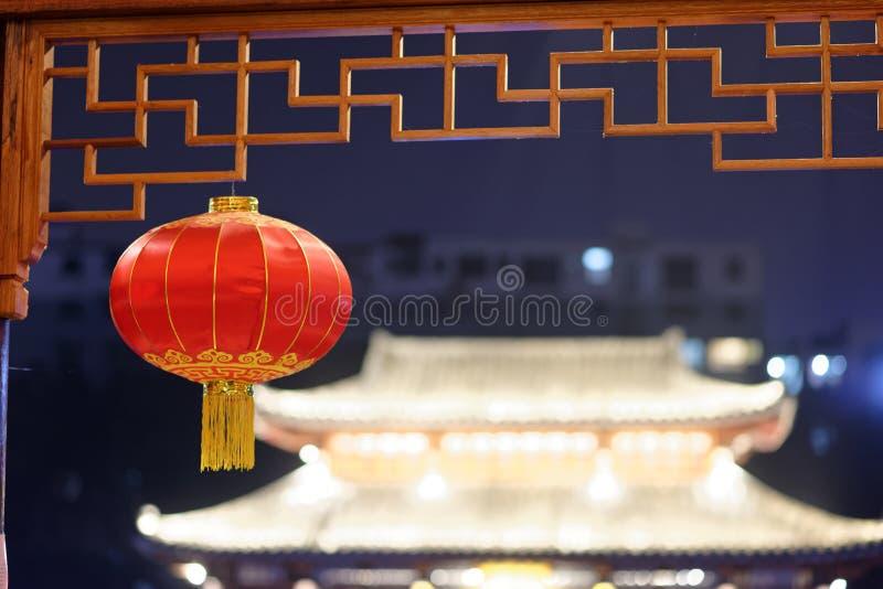 Czerwona lampionu pawilonu parka noc obrazy royalty free
