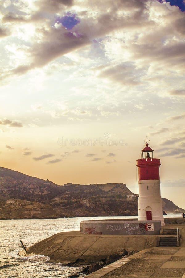 Czerwona latarnia morska fotografia stock