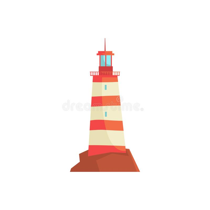 Czerwona latarnia morska, reflektoru wierza dla morskiej nawigaci przewodnictwa wektoru ilustraci royalty ilustracja