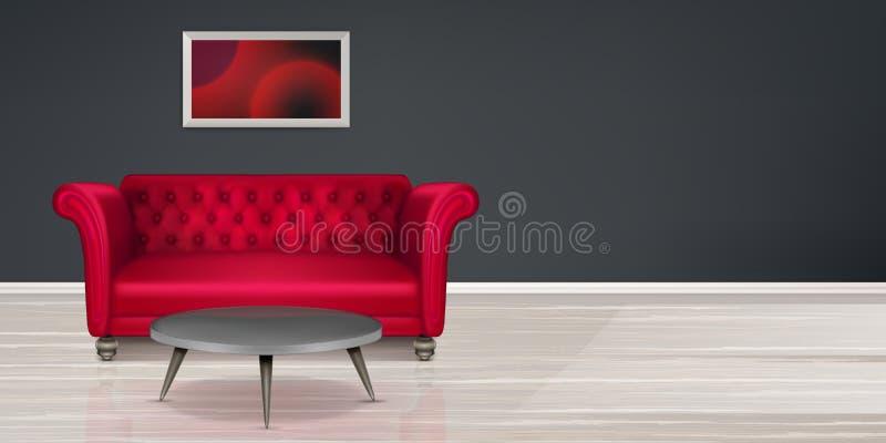 Czerwona leżanka, kanapa nowożytny mieszkaniowy wewnętrzny projekt ilustracji