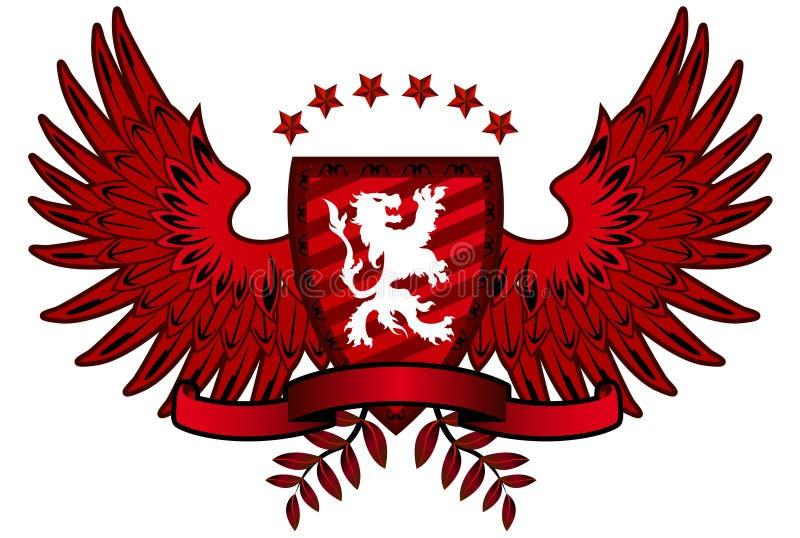 Czerwona lew osłona ilustracja wektor
