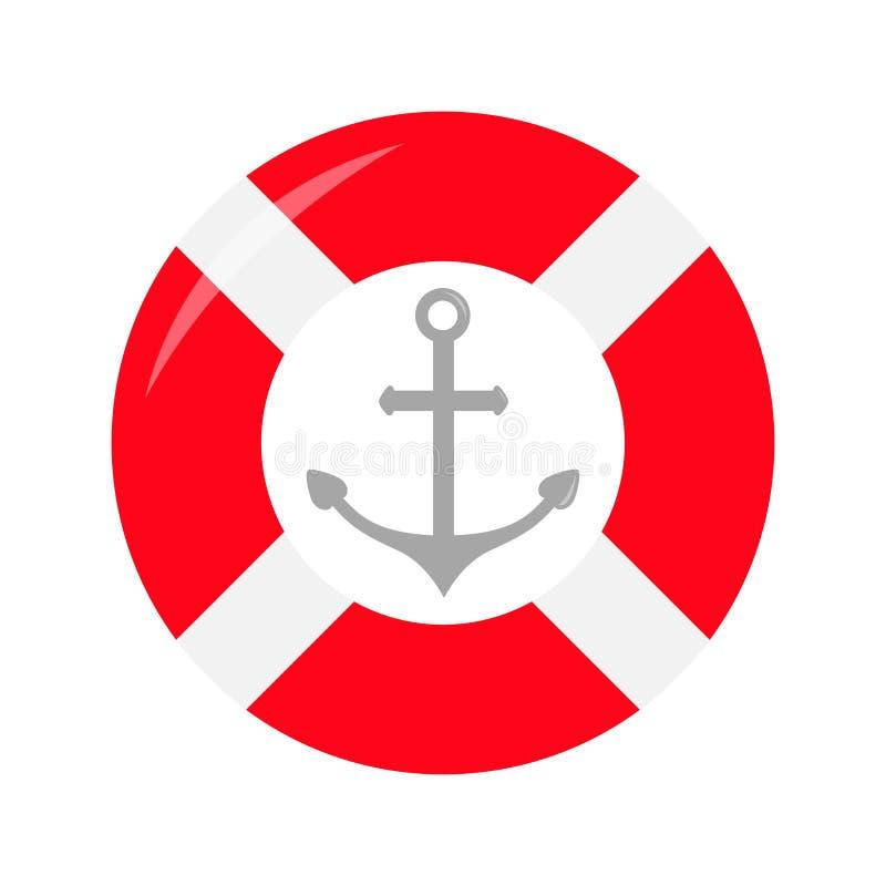 Czerwona lifebuoy ringowa statek kotwicy ikona Życia boja round okrąg dla bezpieczeństwa przy denną ocean wodą Nautyczny szyldowy ilustracji