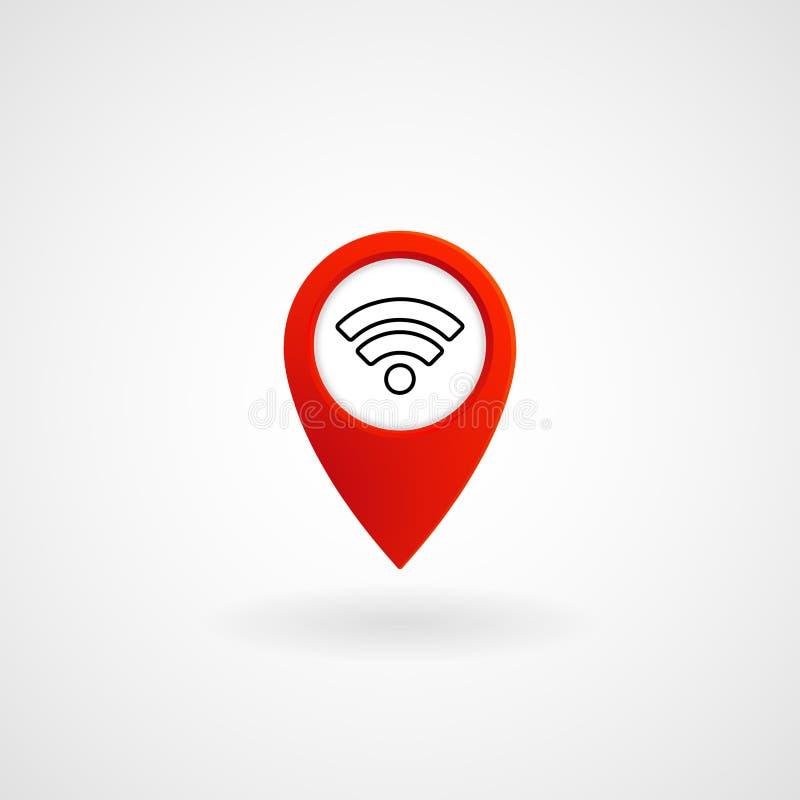 Czerwona lokaci ikona dla Wifi, wektor ilustracji