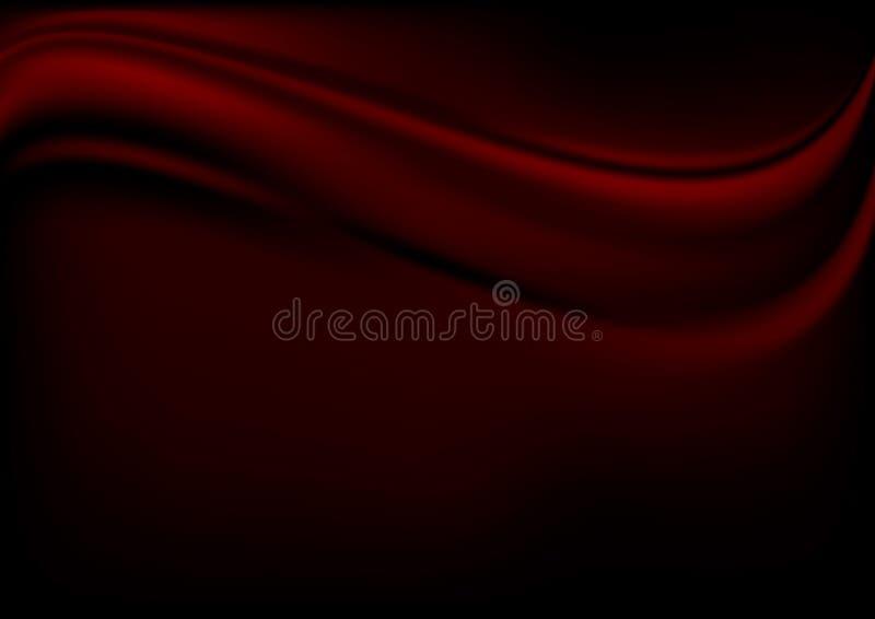 Czerwona luksusowa tkanina na czarnym tle z odbitkową astronautycznego wektoru ilustracją royalty ilustracja