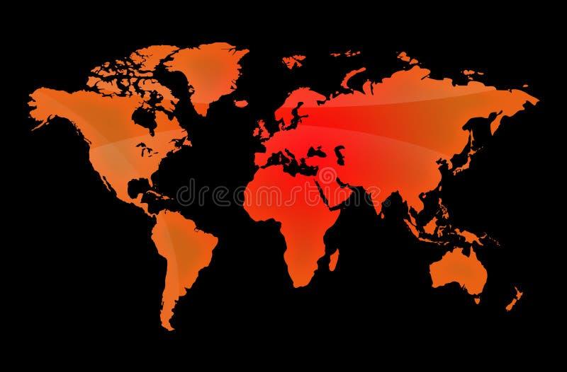 Czerwona mapa świat fotografia royalty free