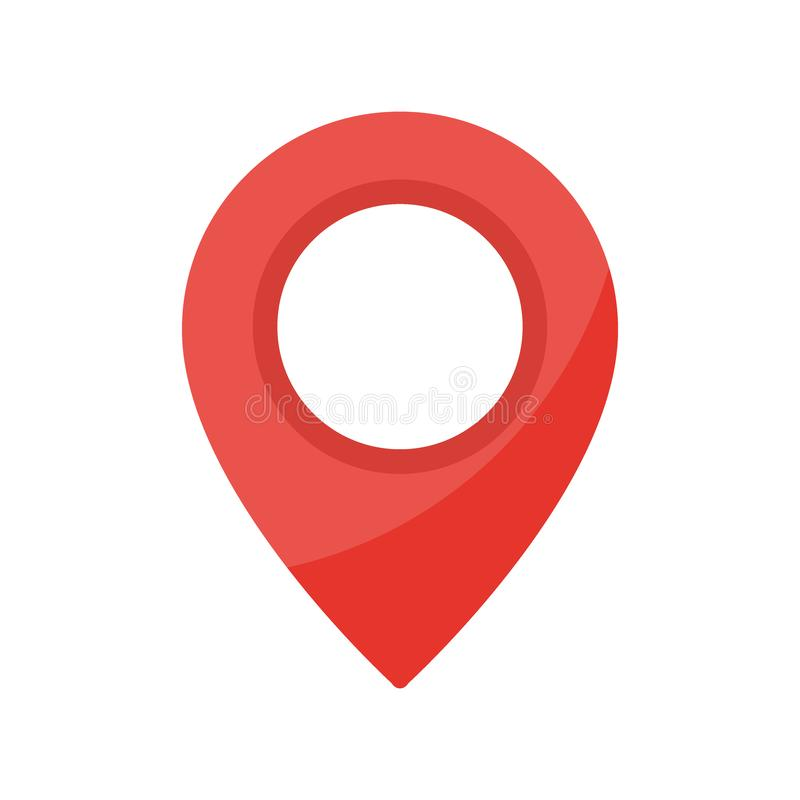 Czerwona mapa pointeru ikona Prosta lokacji ocena GPS lokacji symbol odizolowywający na białym tle royalty ilustracja