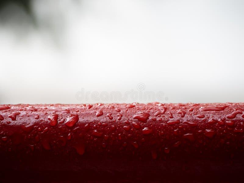 Czerwona metalu poręcza rękojeść w deszczu fotografia stock