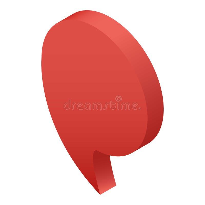 Czerwona mowy mapy szpilki ikona, isometric styl royalty ilustracja