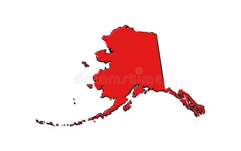 Czerwona nakreślenie mapa Alaska royalty ilustracja