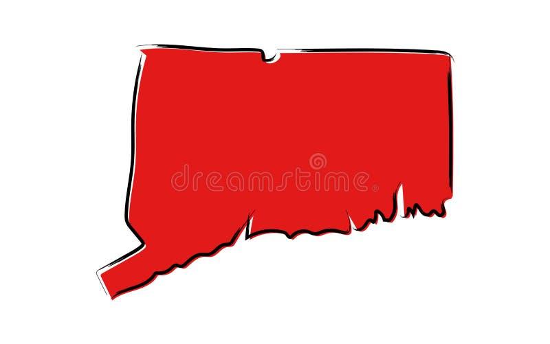 Czerwona nakreślenie mapa Connecticut royalty ilustracja