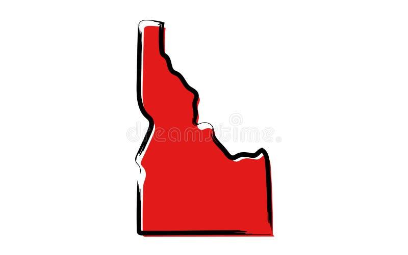 Czerwona nakreślenie mapa Idaho royalty ilustracja