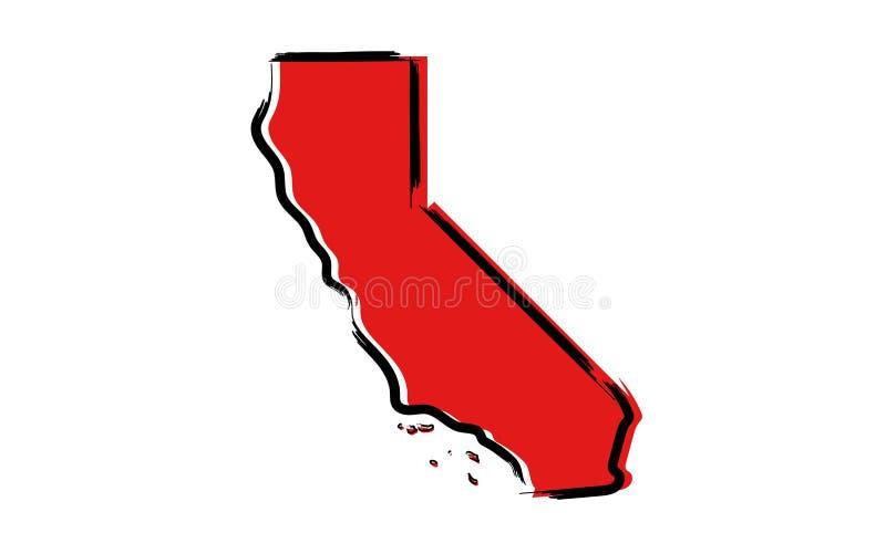 Czerwona nakreślenie mapa Kalifornia ilustracja wektor