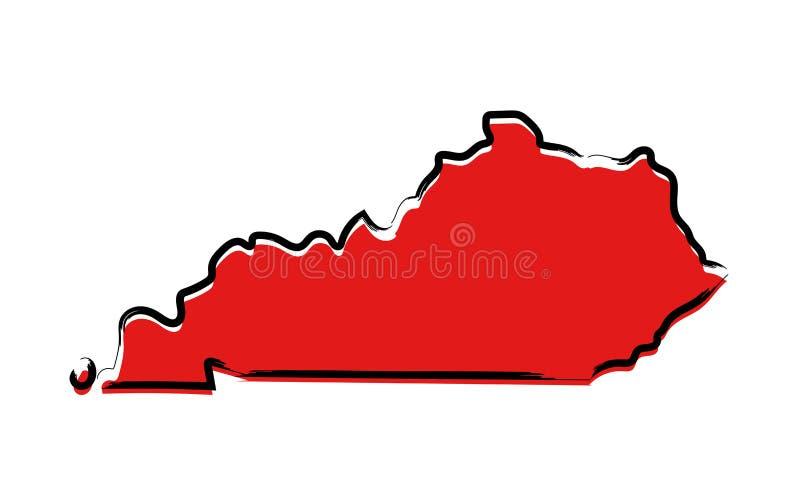 Czerwona nakreślenie mapa Kentucky royalty ilustracja