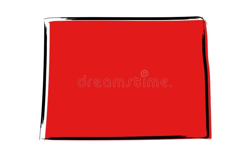 Czerwona nakreślenie mapa Kolorado ilustracji