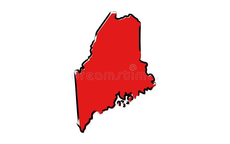 Czerwona nakreślenie mapa Maine ilustracja wektor