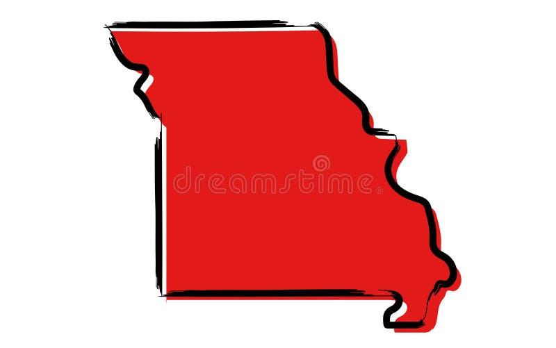 Czerwona nakreślenie mapa Missouri ilustracja wektor