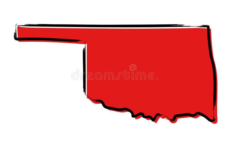 Czerwona nakreślenie mapa Oklahoma royalty ilustracja