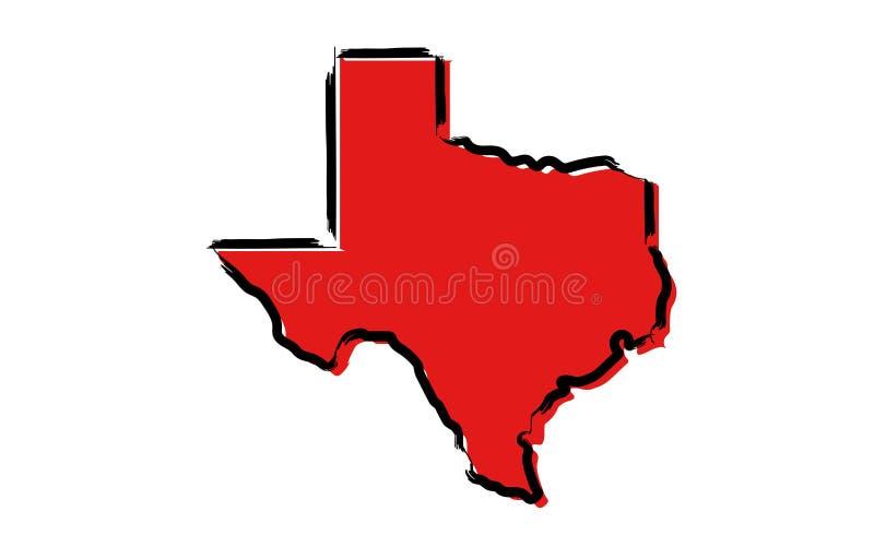 Czerwona nakreślenie mapa Teksas ilustracja wektor