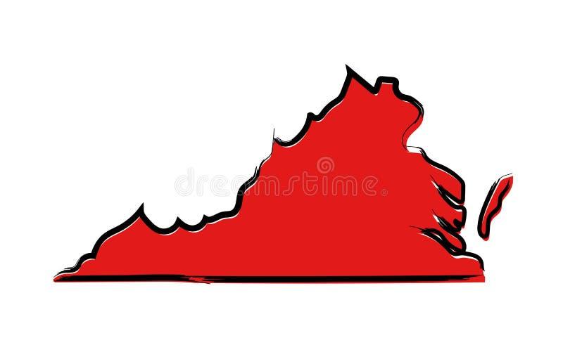 Czerwona nakreślenie mapa Virginia ilustracji
