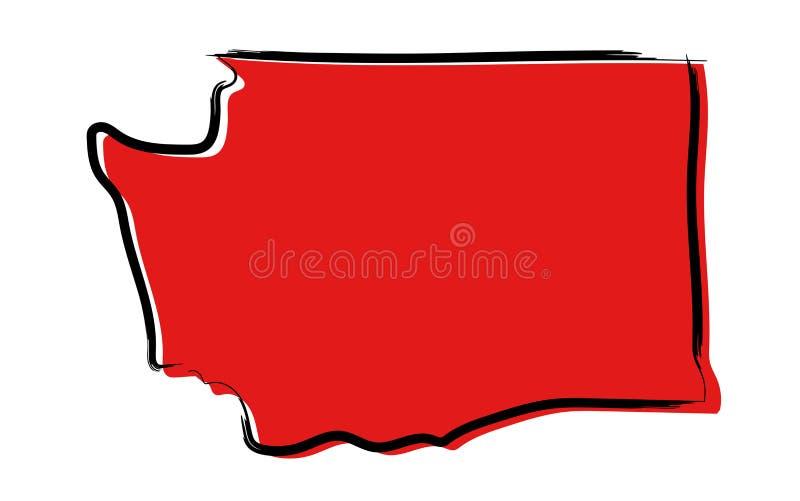 Czerwona nakreślenie mapa Waszyngton royalty ilustracja