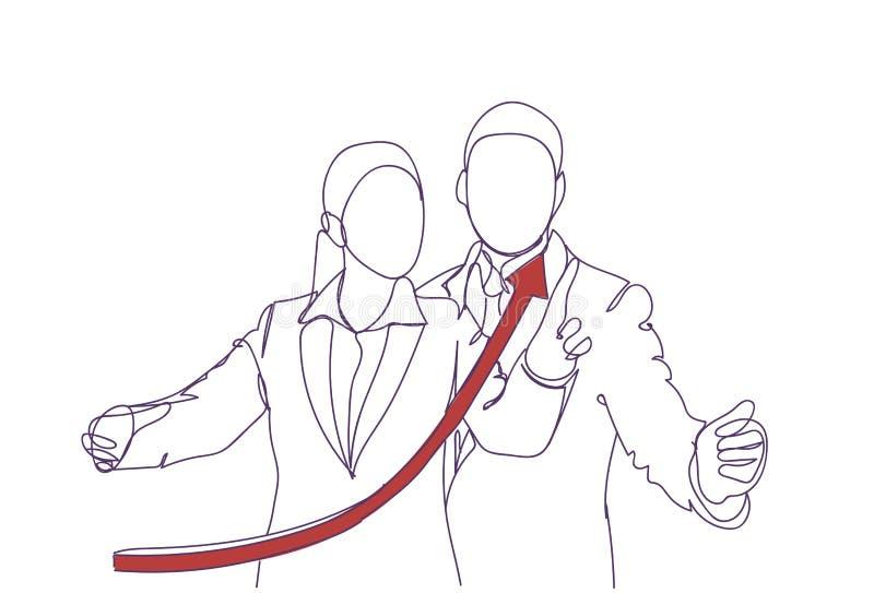 Czerwona Narastająca strzała Nad sylwetką Biznesowego mężczyzna I kobiety mówienie, Doodle biznesmena punktu palca przyrosta sukc ilustracja wektor