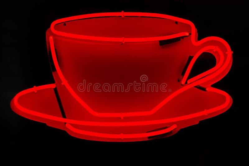 Czerwona Neonowa filiżanka obrazy stock