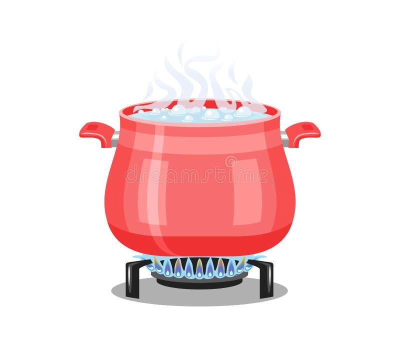 Czerwona niecka z wrzącą wodą na benzynowej kuchence royalty ilustracja