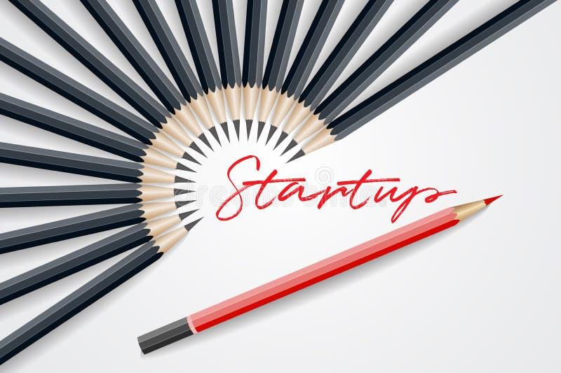 Czerwona ołówkowa pozycja out od tłoczy się out od czarnego ołówka Busine ilustracji