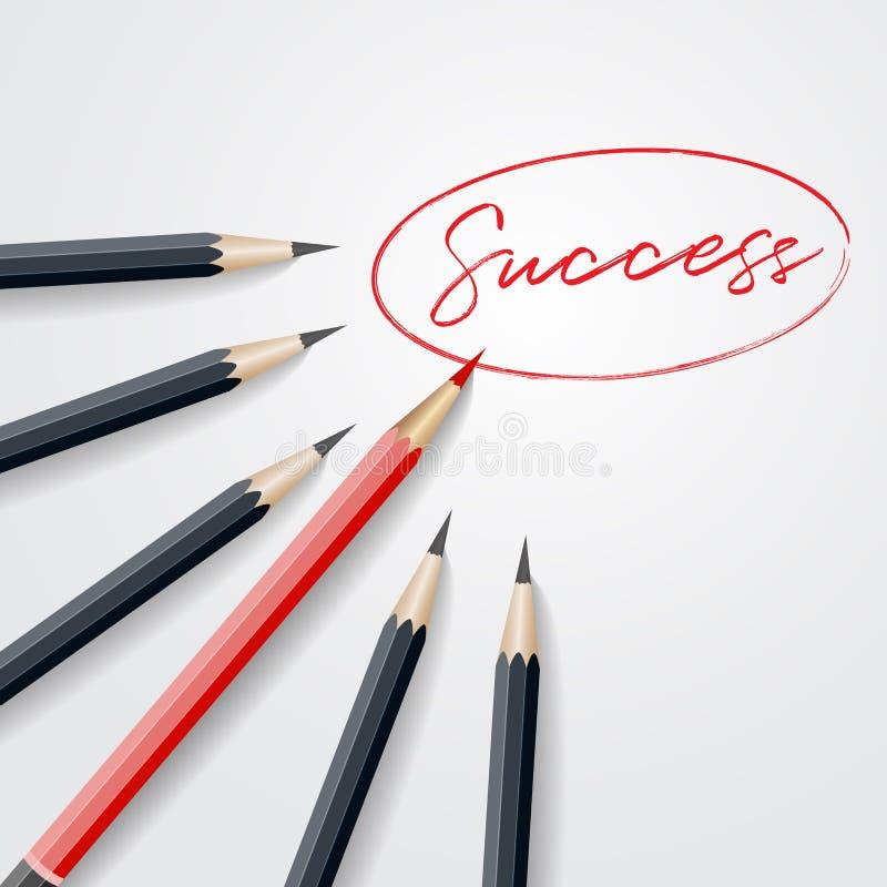 Czerwona ołówkowa pozycja out od tłoczy się out od czarnego ołówka z su ilustracja wektor