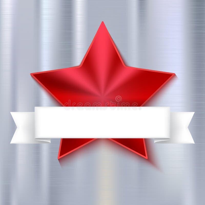 Czerwona olśniewająca pięcioramienna gwiazda na kruszcowym tle z białym sztandarem Realistyczna tekstura metal ilustracja wektor
