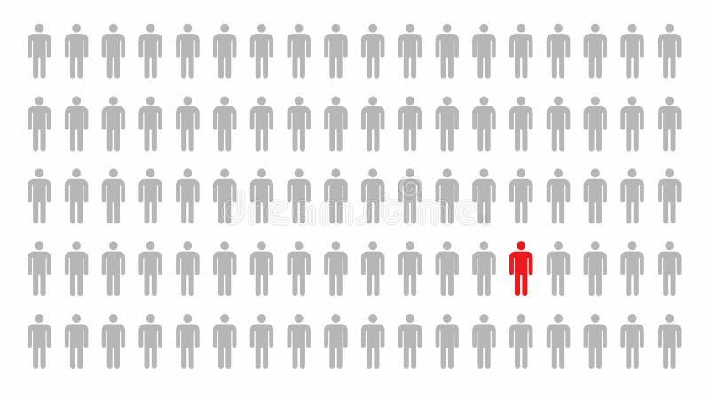 Czerwona osoba symbolu pozycja w tłumu ludzie w biznesowy przywódctwo lub różnym pojęciu na białym tle, 3d abstrakt royalty ilustracja