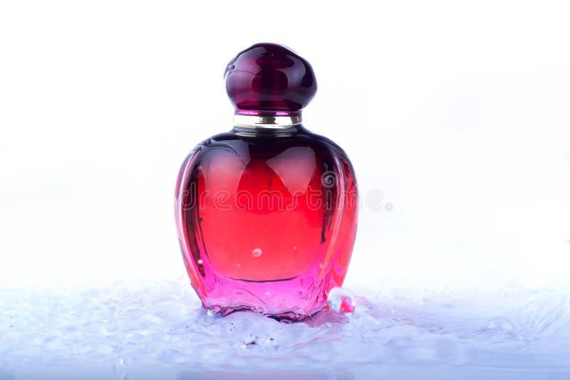 Czerwona pachnid?o butelka wszystko w wodnej ki?ci na bia?ym tle fotografia royalty free