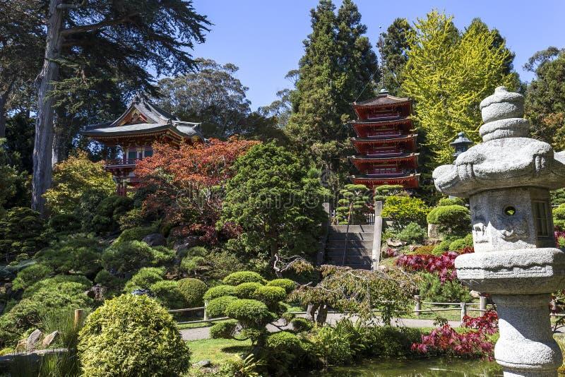 Czerwona pagoda i drzewa w japończyku uprawiamy ogródek zdjęcia stock