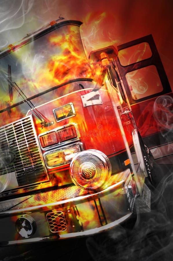 Czerwona palenie ogienia ratuneku ciężarówka z płomieniami fotografia stock