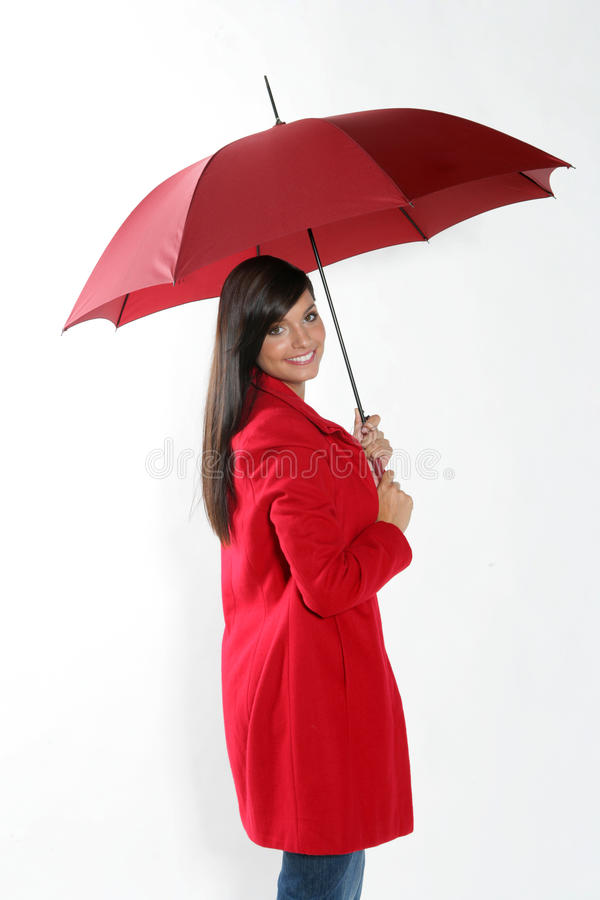 czerwona parasolowa kobieta fotografia stock
