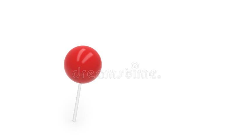 Czerwona pchnięcie szpilka, thumbtack odizolowywający na białym tle, 3d royalty ilustracja