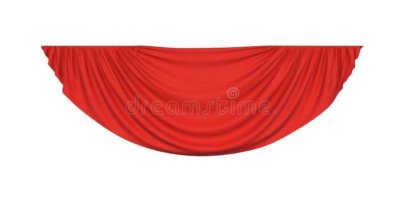 Czerwona pelmet draperii zasłona royalty ilustracja