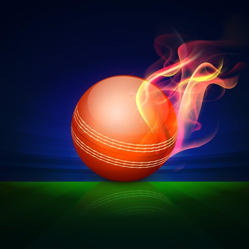 Czerwona piłka w ogieniu dla krykieta zdjęcie stock