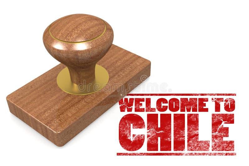 Czerwona pieczątka z powitaniem Chile ilustracja wektor
