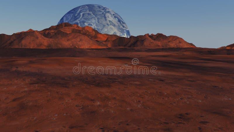Czerwona planeta i odległa planeta zdjęcie stock