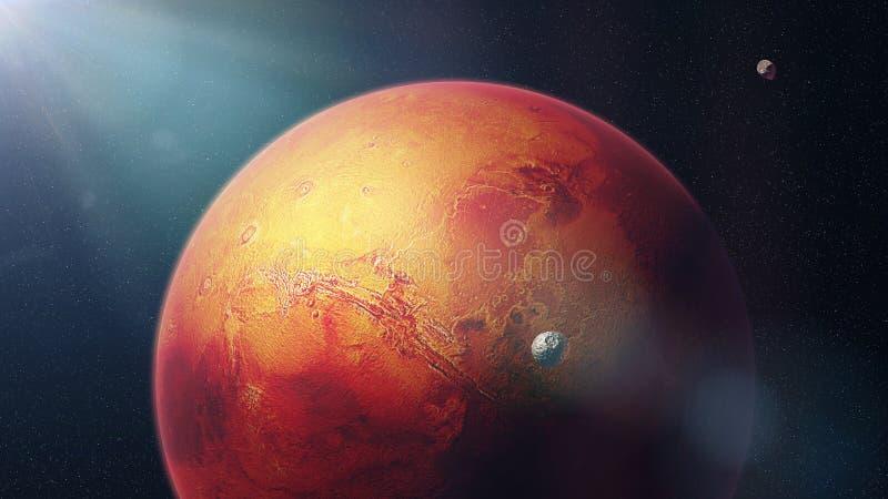 Czerwona planeta Mąci z księżyc Phobos i Deimos ilustracji