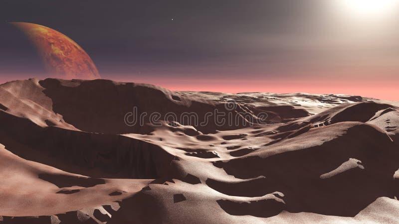 Czerwona planeta, panoramiczny krajobraz Mars zdjęcia royalty free
