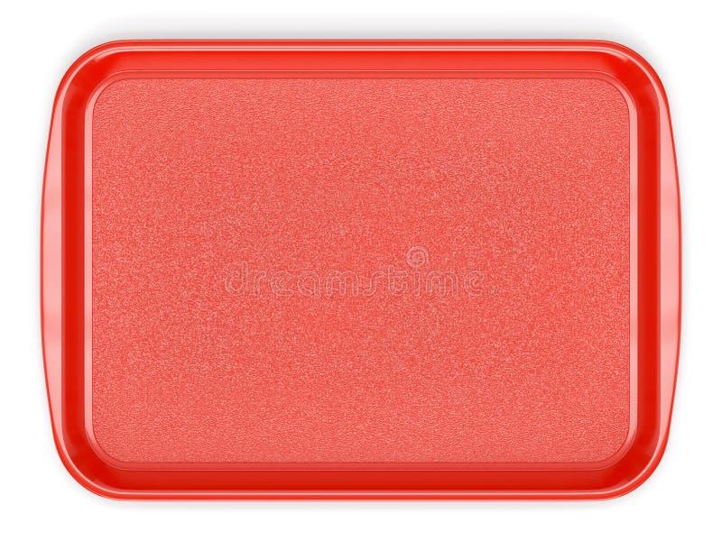 Czerwona plastikowa karmowa taca ilustracja wektor