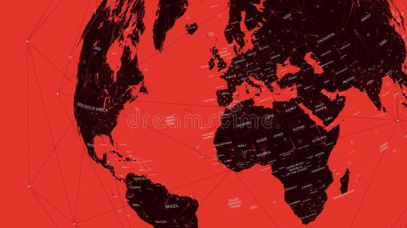 Czerwona polityczna mapa świat, wektorowa płaska ilustracja ilustracji