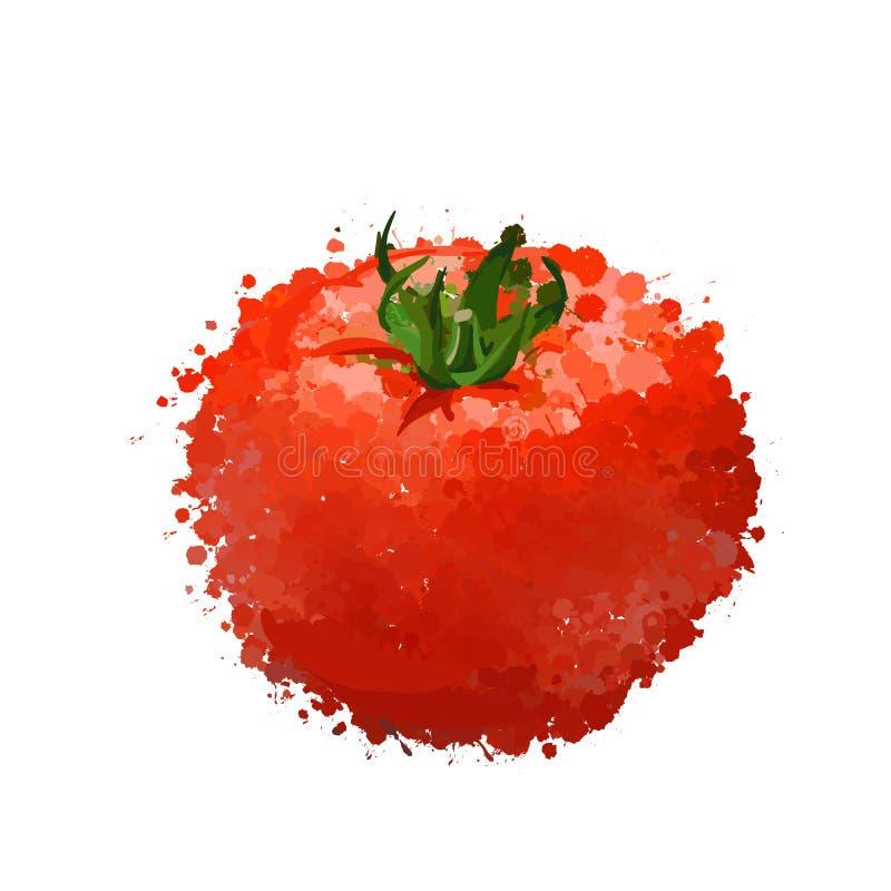 Czerwona pomidorowa ilustracja kleksy ilustracja wektor