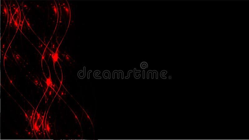 Czerwona przejrzysta abstrakcjonistyczna błyszcząca magiczna pozaziemska magiczna energia wykłada, promienie z świeceniem i kropk royalty ilustracja