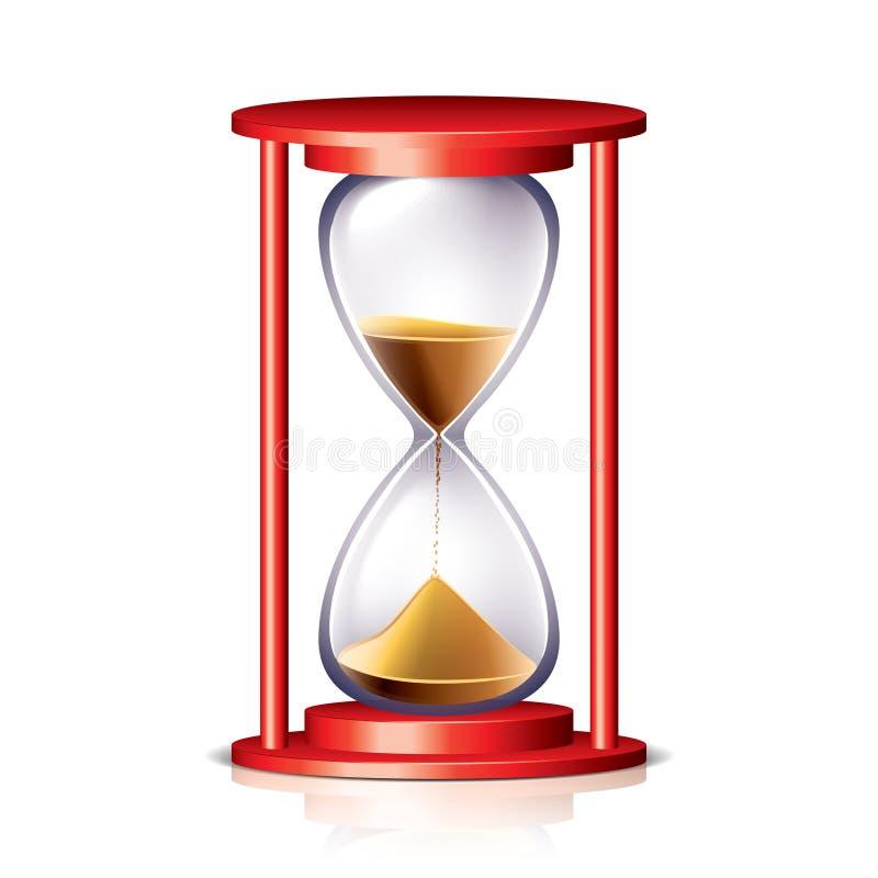 Czerwona przejrzysta hourglass ilustracja ilustracja wektor