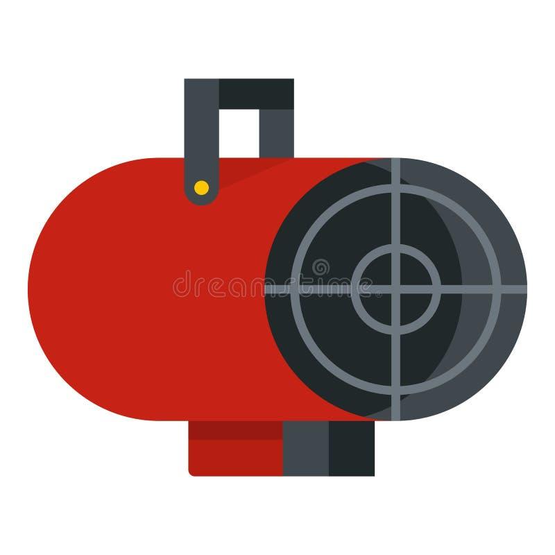 Czerwona przemysłowa elektrycznego fan nagrzewacza ikona odizolowywająca ilustracja wektor