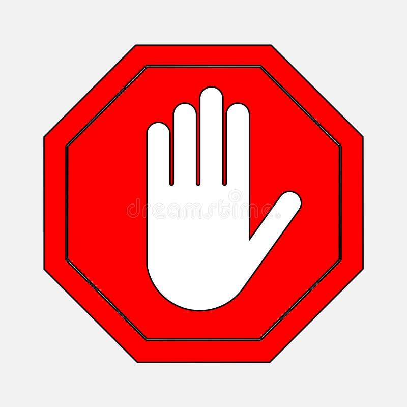 Czerwona przerwa znaka ręki przerwa ilustracja wektor